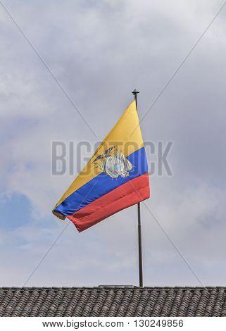 Ecuador Flag At Top Of Roof