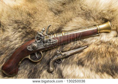 antique decorative gun on natural skin a wild Wolf