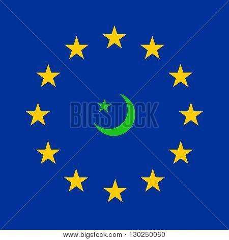 flag of European Union and symbol of Islam