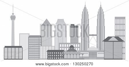 Kuala Lumpur Malaysia City Skyline Grayscale Isolated on White Background Illustration