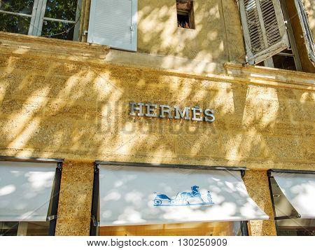AIX-EN-PROVENCE FRANCE - JUL 17 2014: HERMES fashion store in the center of the Aix-En-Provence city located in Rue Thiers
