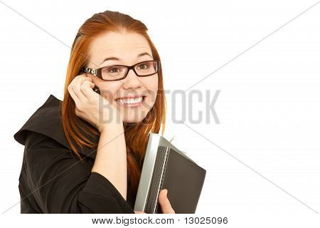 Woman Calling To Phone And Holding A Black Folder Surprised