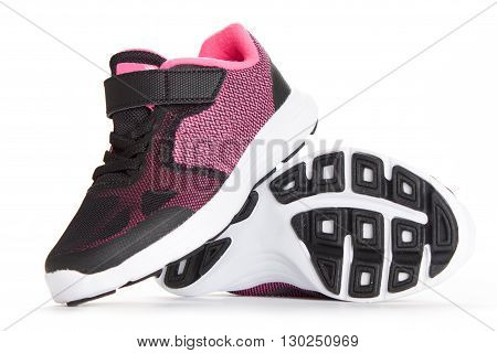 Pair Of Pink And Black Sport Shoes On White Background
