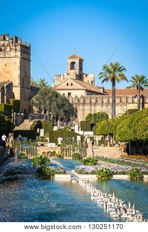 Cordoba Spain-March 11 2015:The famous Alcazar with beautiful garden in Cordoba Spain