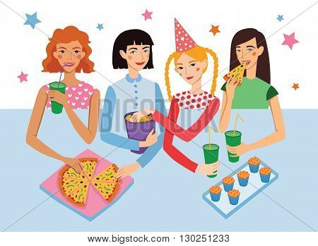 Birthday Party With Four Cute Girls Friends Vector Illustration. Girldfriends Chatting, Snacking During Celebration Event. Artwork is perfect for fun event gathering, invitation, magazine article, flyer.