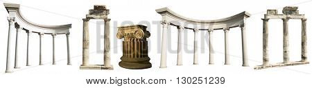 Collection of different ancient Greek columns isolated on a white background