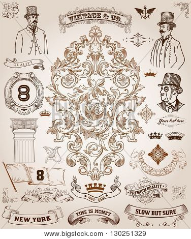 Victorian, scrollwork Design Elements. Premium Quality set