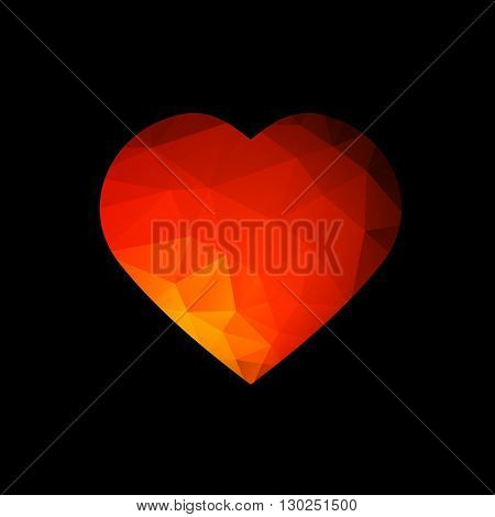 Illustration of Single Red Abstract Heart at Black Background