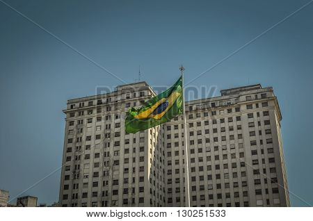 Sao Paulo Brazil August 08 2011: architectural details of Building with brasilian flag of downtown Sao Paulo