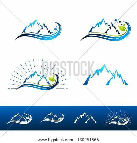 Mountain Resort Logo Design Collection Over White