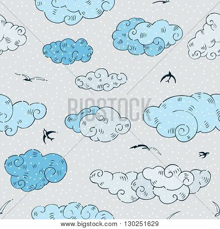 Blue Clouds, seamless pattern. Hand drawn vector illustration