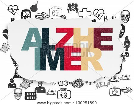 Medicine concept: Painted multicolor text Alzheimer on Torn Paper background with  Hand Drawn Medicine Icons