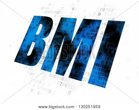 Healthcare concept: Pixelated blue text BMI on Digital background