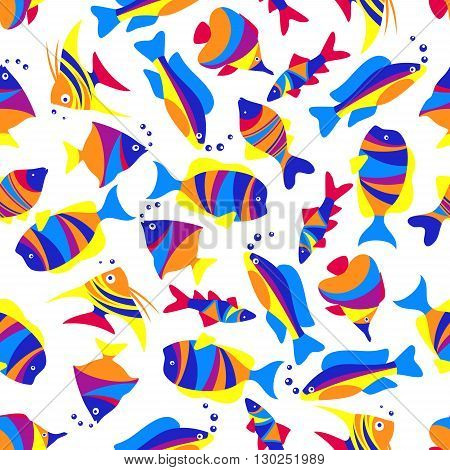Tropical sea life seamless pattern of swimming exotic fishes with colorful striped bodies, tails and fins over white background. Great for underwater life and nature themes design