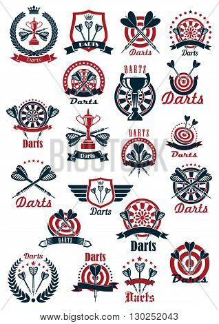 Dartboards with darts missiles and winner cups symbols for darts club or tournament design usage supplemented by heraldic shields and laurel wreaths, ribbon banners and wings, crowns and stars