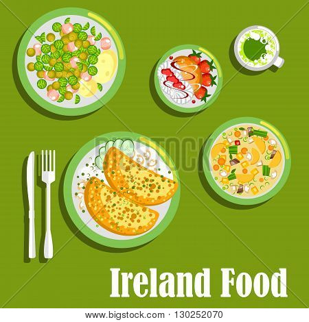 Rich and flavor dishes of irish cuisine symbol with potato pancakes boxty with cheesy mushroom sauce and brussels sprouts warm salad with corned beef, dublin stew coddle, green beer and merengue dessert with fresh strawberries and hazelnut biscuits. Flat