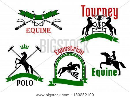 Jumping and rearing up horses, dressage whips, mallets and trophy cups icons, framed by ribbon banners, stars and crown. Use as equestrian sport tournament, polo game or equine club symbol design