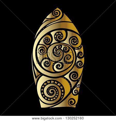 Golden Surf board. Illustration in the Polynesian style tattoo.