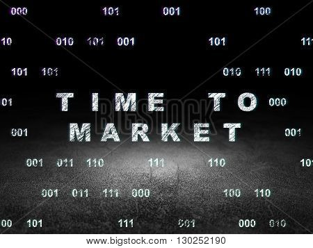 Time concept: Glowing text Time to Market in grunge dark room with Dirty Floor, black background with Binary Code