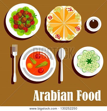 Arabian vegetarian shawarma wrap sandwiches filled with lentil, vegetable stew with tomatoes and peppers and deep fried chickpea falafels, cabbage salad with cucumbers and cup of coffee. Flat icon for arab cuisine design