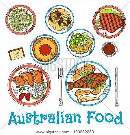 Authentic australian dinner prepared from local ingredients icon with sketch symbols of traditional fish and chips, meat pie with tomato sauce and grilled lamb, rice with salmon and toasts with vegemite, vegetable salad and cup of coffe with sliced fresh
