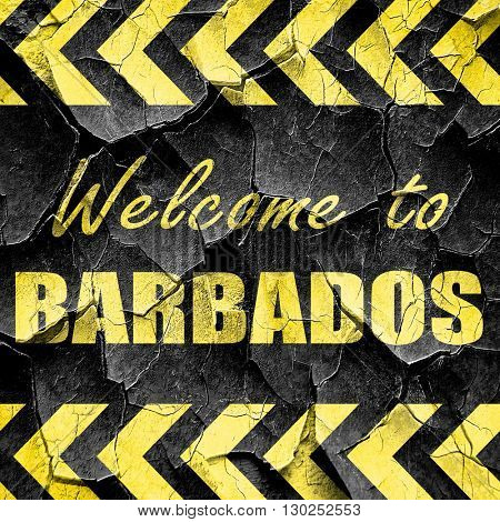 Welcome to barbados, black and yellow rough hazard stripes