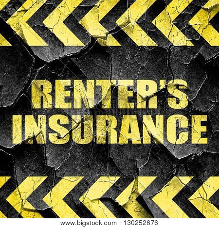renter's insurance, black and yellow rough hazard stripes