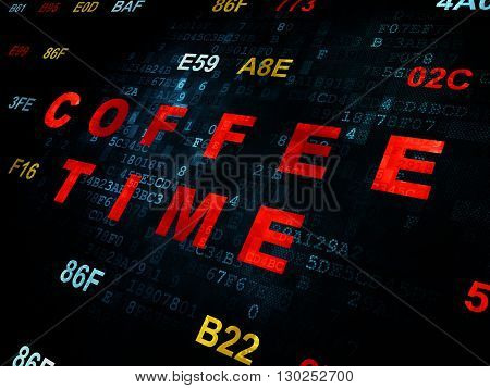 Timeline concept: Pixelated red text Coffee Time on Digital wall background with Hexadecimal Code