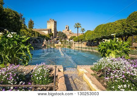 Cordoba Spain-March 11 2015: The famous Alcazar with beautiful garden in Cordoba Spain