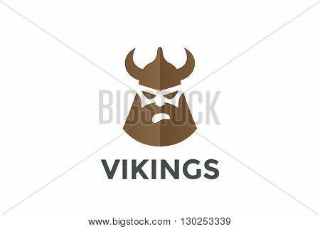 Viking Head Helmet Pub Logo design vector icon Negative space.