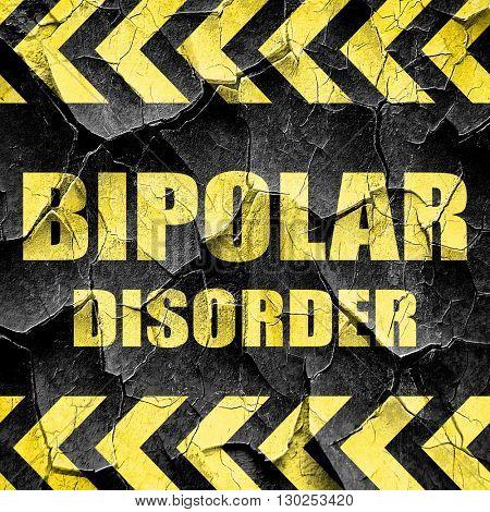 Bipolar sign background, black and yellow rough hazard stripes