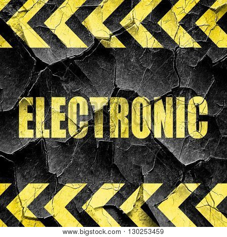 electronic music, black and yellow rough hazard stripes