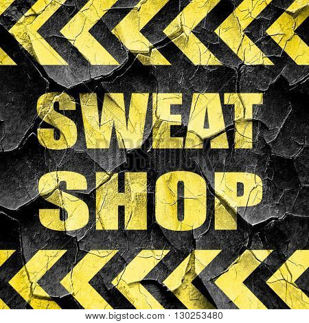 Sweat shop background, black and yellow rough hazard stripes