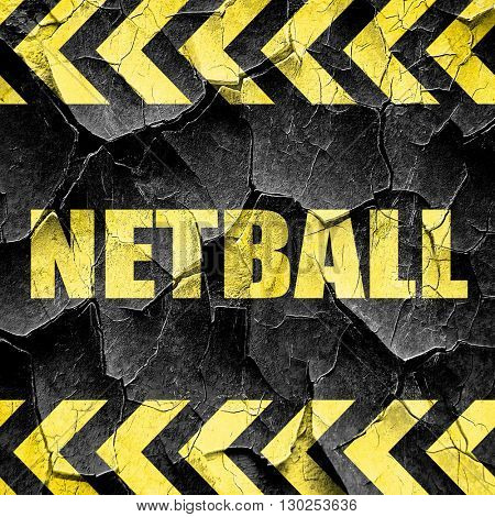netball sign background, black and yellow rough hazard stripes