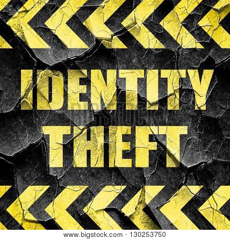 Identity theft fraud background, black and yellow rough hazard s