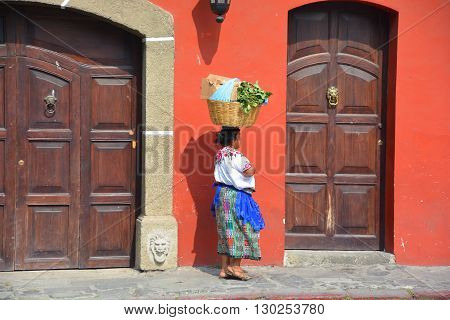 ANTIGUA GUATEMALA MAY 02 2016: Portrait of a Mayan woman. The Mayan people still make up a majority of the population in Guatemala,