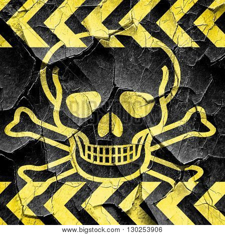 Poison sign background, black and yellow rough hazard stripes