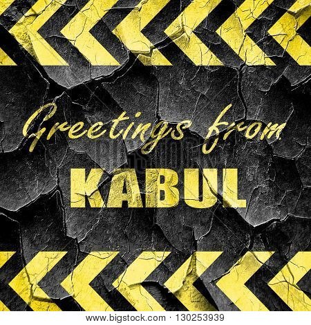 Greetings from kabul, black and yellow rough hazard stripes