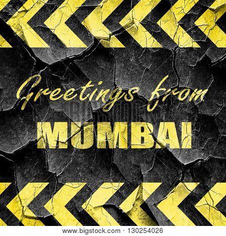 Greetings from mumbai, black and yellow rough hazard stripes
