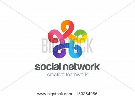 Social network Logo vectorFive point Infinity Looped star icon.