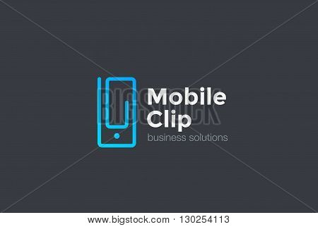 Mobile Phone Clip Logo vector Linear. Business Solutions icon.