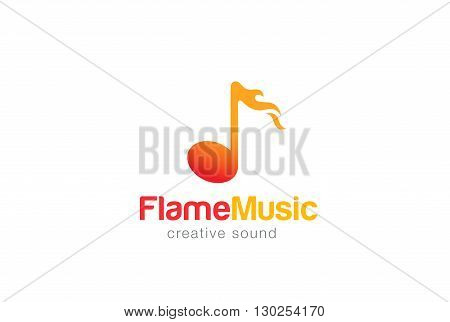 Note in Flame Music Hot Logo design vector Fire concept icon.
