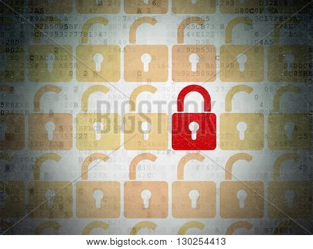 Privacy concept: rows of Painted yellow opened padlock icons around red closed padlock icon on Digital Data Paper background