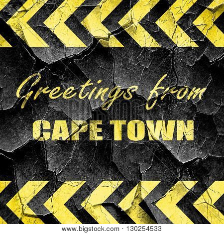 Greetings from cape town, black and yellow rough hazard stripes