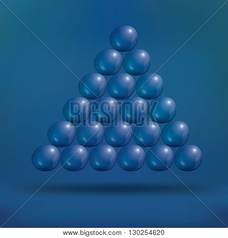 Transparent Soap Bubbles in Pyramid on Blue Background. Vector Illustration.