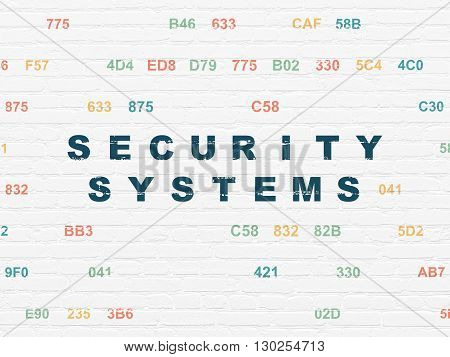 Privacy concept: Painted blue text Security Systems on White Brick wall background with Hexadecimal Code