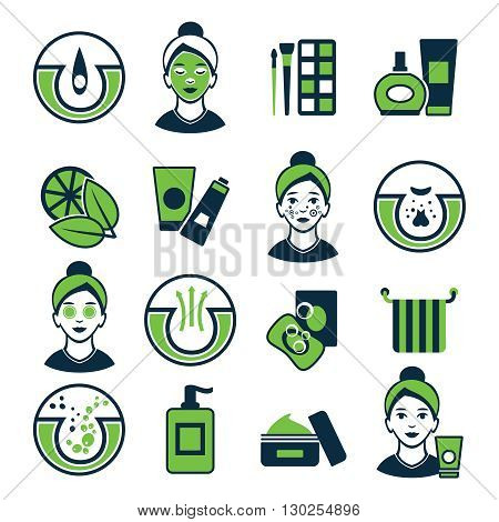 Acne green color icon set with elements of skin care and makeup girl to impose a mask vector illustration
