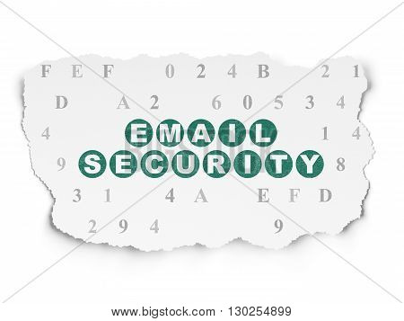 Protection concept: Painted green text Email Security on Torn Paper background with  Hexadecimal Code