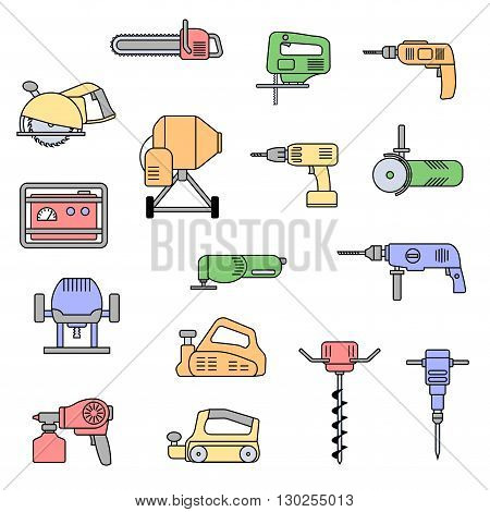 Set of flat colorful repair tool icons. Home repair tools pictogram. Worker tools. Electric tools. Tools sign. Vector illustration.