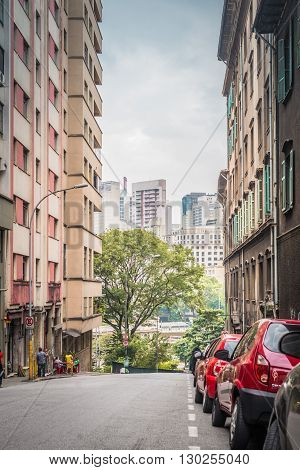 Sao Paulo - MAY 07 2016 - Street called Riachuelo Street in Downtown in the city of Sao Paulo and background buildings